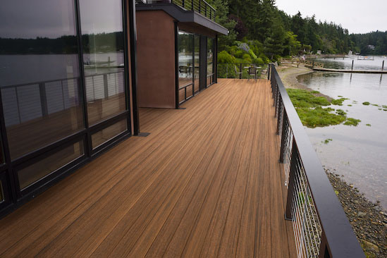 Wood Plank Deck Patio Beach Water Contemporary Waterfront Home